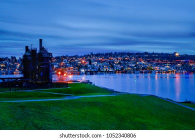 Blue Hour Twilight at Gas Works Park in Seattle, Washington