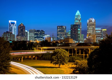 The blue hour in uptown Charlotte, North Carolina