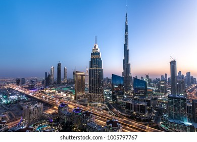 Blue hour view of Dubai Downtown architecture after winter sunset. Dubai, United Arab Emirates.