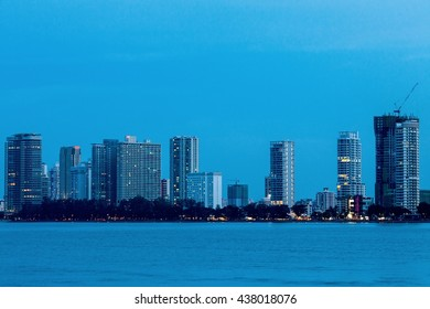 Blue hour view High Rise Building of Gurney Drive and George Town Metropolitan from Straits Quay, Penang Malaysia
