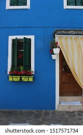 Blue house in Burano, Italy, Venice
