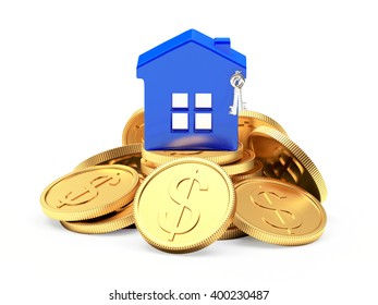 Blue house on a pile of coins isolated on white background. 3d illustration