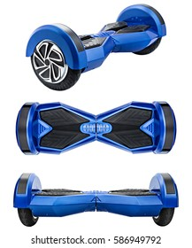 Blue hover board, on a White Background.