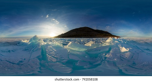 blue hummocks of the ice Baikal at sunset. Spherical vr 360 180 degrees panorama.