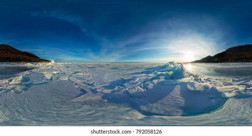 blue hummocks of ice Baikal at sunset at Olkhon. Spherical vr 360 180 degrees panorama.