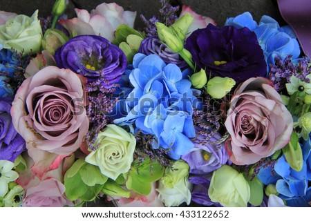 Blue Hydrangea Purple Roses Blue Purple Stock Photo Edit Now