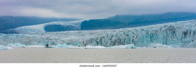 Blue ice from a boat tour on the Fjallsarlon  glacial lagoon on an arm of the huge Vatnajokull glacier in South Iceland