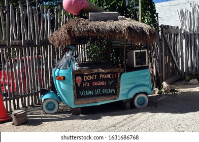 """A Blue Ice Cream Cart with a Thatched Roof and a Sign that Reads,""""Don't Panic it's Organic. Vegan Ice Cream."""""""