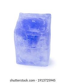 Blue ice cube block isolated over white background