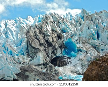 Blue ice exposed after a calving of the Herbert Glacier in Juneau Alaska