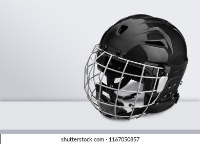 Blue Ice Hockey Helmet with Cage, Isolated on White Background