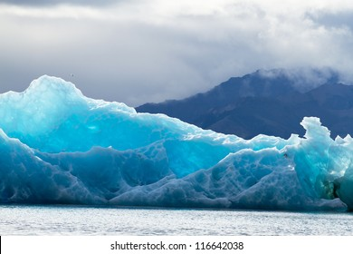 Blue ice at Icelake Jokulsarlon Iceland