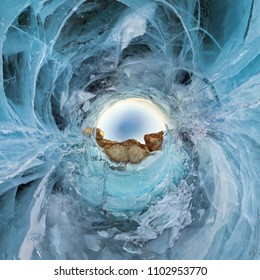 blue ice of Lake Baikal, the cliffs of the island of Olkhon. Tiny planet 360vr panorama