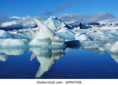 Blue ice at Ice lake Jokulsarlon Iceland