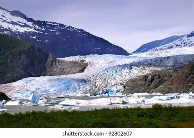 The blue ice of Mendenhall Glacier at Juneau Alaska