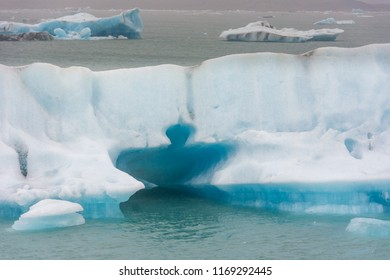 Blue ice on the famous Jokulsarlon glacial lagoon on an arm of the huge Vatnajokull glacier in South Iceland