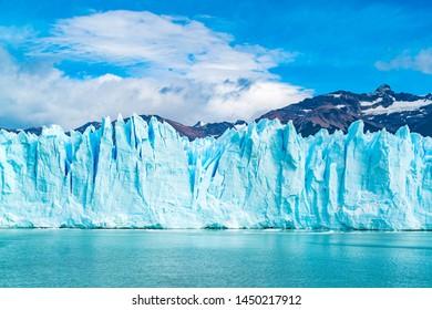 Blue Ice of Perito Moreno Glacier on Argentina Lake at Los Glaciares National Park in Argentina Patagonia