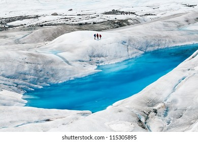 Blue ice pools on Mendenhall Glacier in Juneau, Alaska