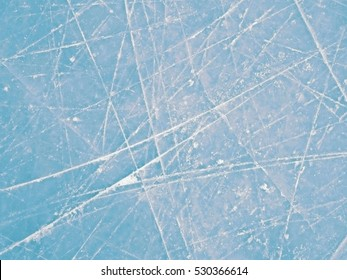 Blue ice rink texture, clear abstract frozen background.