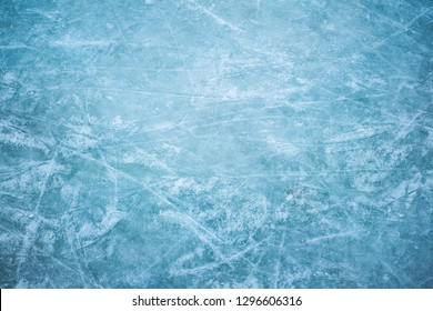 Blue ice in skate scratches, close up view