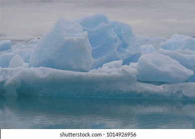 Blue Icebergs floating in Glacier Lagoon Iceland