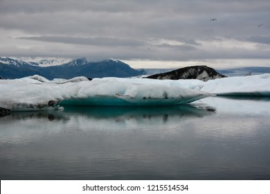 Blue icebergs floating in Jokulsarlon glacial, Iceland in summer at dusk, reflections in the water and birds flying.