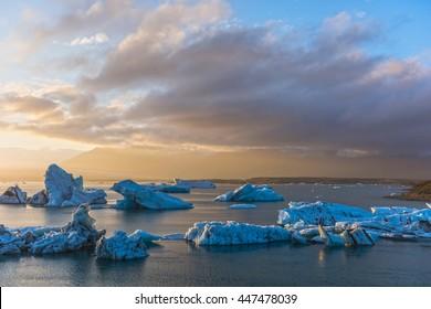 Blue Icebergs in glacier lagoon, Jokulsarlon, Iceland