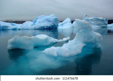 The Blue Icebergs of Narsarsuaq Greenland originating from the Qooroq Glacier