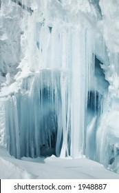 Blue icicle in the glacier for Cordilleras