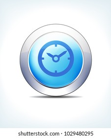 Blue Icon Button Appointment Time Assistance, Clock, Healthcare & Pharma - Raster Version