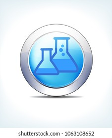 Blue Icon Button Beakers, Flasks, for use in your Healthcare Pharmaceutical presentations - Raster Version