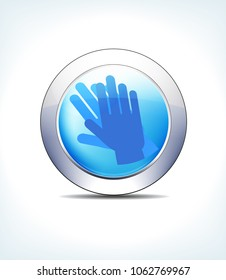 Blue Icon Button Clean Hands Wash, for use in your Healthcare & Pharmaceutical presentations - Raster Version