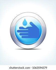 Blue Icon Button Corrosive Sign, for use in your Healthcare Pharmaceutical presentations - Raster Version
