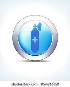 Blue Icon Button Gas & Air Cylinders, for use in your Healthcare & Pharmaceutical presentations - Raster Version