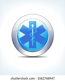 Blue Icon Button Medical Sign, Caduceus, for use in your Healthcare & Pharmaceutical presentations - Raster Version