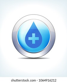 Blue Icon Button Medicine with Medical Cross for use in your Healthcare & Pharmaceutical presentations - Raster Version