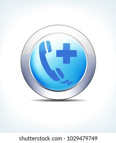 Blue Icon Button Phone Call Help, Medical Assistance, Healthcare & Pharma - Raster Version