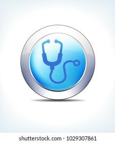 Blue Icon Button Stethoscope, Healthcare & Pharma - Raster Version