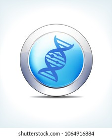 Blue Icon ButtonDNA, Genetic Code, for use in your Healthcare & Pharmaceutical presentations - Raster Version