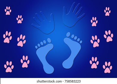 Blue Illustration of Foot Prints and Hand Prints