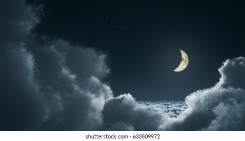 blue image with clouds at night; 3d illustration