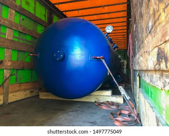 Blue Industrial heat exchanger, tube shell and tube high efficiency. Transportation in the truck.