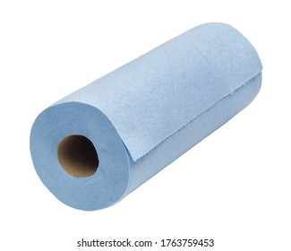 Blue industrial strength paper towel isolated on white
