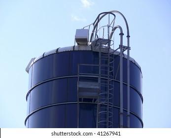 blue industrial tank