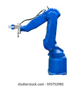 Blue industry robotic arm isolated included clipping path