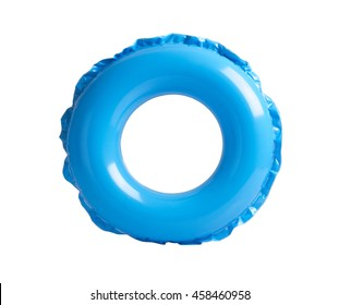 Blue inflatable circle isolated on white background