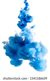 Blue ink injected into water on white background