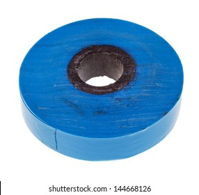 blue insulating adhesive tape isolated on white background