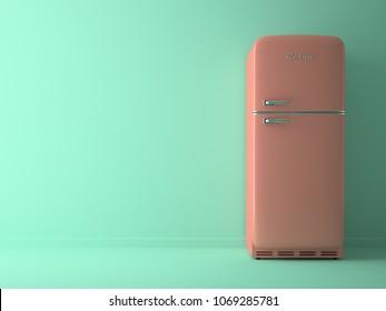 Blue Interior with pink fridge 3D illustration