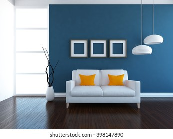 Blue interior with sofa. 3d illustration